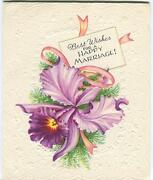 Vintage Purple Orchid Pink Ribbon Ferns Spray Happy Marriage Greeting Card Print
