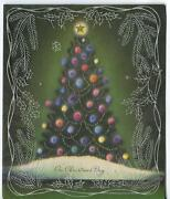 Vintage Christmas Day Green Evergreen Tree Ornaments Star Greeting Card Print