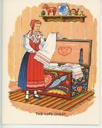 Vintage Swedish Girl Hope Chest Cabbage Potatoes Recipe Print 1 Horse Cat Card