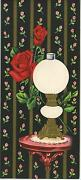 Vintage Hurricane Gone With The Wind Lamp Red Roses And 1 Christmas House Card