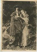 Antique Renaissance Costume Waterfall Man Woman Ferns Lucy And The Master Print