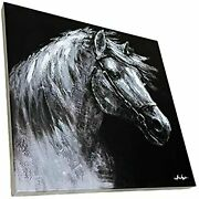 Urbalabs Canvas Art Black And White Abstract Animal Street Art Single Horse Wall