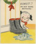 Vintage Black And White Puppy Dog Puddle Christmas Tree Cute Greeting Card Print