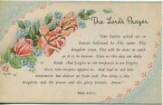 Vintage Roses Vinca Flowers The Lord's Prayer Our Father Matthew 69-13 Postcard