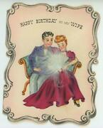 Vintage Victorian Woman Man Eventail Fan Birthday Wife Lithograph Old Card Print