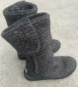 Uggs Sweater Boots Women's Size 7 Black With Gold Threading