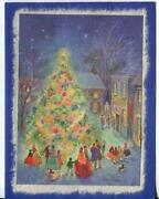 Vintage Christmas Tree Village Town Victorian Costume Dog Flawed Greeting Card