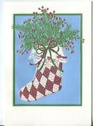 Vintage Christmas Embossed Country Charm Plaid Stocking Holly Lace Greeting Card