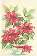 Vintage Christmas Red Pink Poinsettia Flowers In Glass Vase Paper Card Art Print
