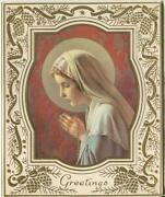 Vintage Christmas Virgin Mary Rosa Mystica Rosary Beads Pine Cones Greeting Card