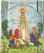 Vintage Our Lady Of Fatima Rosary Beads Crucifix Garden Sheep Stand Up Mcm Card