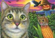 Aceo Gorgeous Tabby Cat Mouse Corn Field Scarecrow Crows Maize Halloween Print