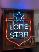 Vintage 80's Lone Star Beer Shield Shaped Neon Sign