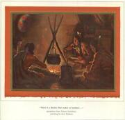 Vintage Christmas Native American Indians Campfire Kettle Dinner Food Meal Card