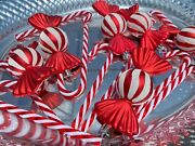 Peppermint Candy Cane Christmas Ornaments Tree Home Decor 16pc Set New