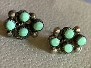 Vintage Sterling Silver Turquoise Four Tiny Stones Pierced Earrings Riveted