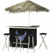 U.s. Air Force Deluxe Portable Bar Set- Thatched Umbrella And 4 Stools