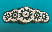Vintage Native American Glass Beads And Leather Beaded Barrette Choctaw Old