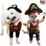 Funny Pet Cosplay Clothes Pirate Costume Dog Puppy Cat Suit W/ Hook Size- Large