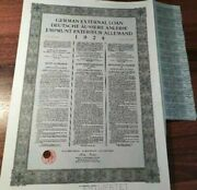 Germany 1924 Young Dawes External Loan Swiss Issue 1000 Francs Coupons Bond