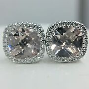 Womenand039s Earrings Solid 18k White Gold Halo Natural Pink Morganite Diamonds