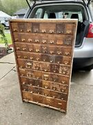 1920andrsquos Wc Heller Co. 60 Drawer Oak Hardware Apothecary Chest Cabinet