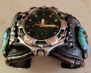 Roysten Turquoise Sam Kee Navajo Relic Green Chronograph Watch Cuff Na 183.7g