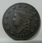 1821 Coronet Head Large Cent Very Fine 1c Desirable Date
