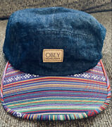 Obey Monterrico Denim 5 Panel Snapback Hat W/multicolored Bill. New Without Tags