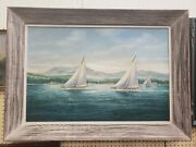 Vintage Oil Painting Sail Boats Coast Theme Big Bold Framed Collectible Art Work