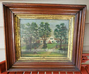 Antique Oil Painting Primitive Farm House White Fence Trees Collectible Rare