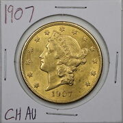 1907 20 Liberty Head Gold Double Eagle In Choice Au Condition 05802