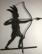 """Vintage Native American Copper Weathervane Indian Bow And Arrow 56"""" X 21"""""""