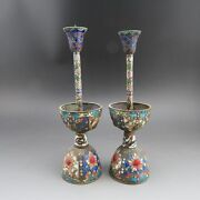 China, Collectibles, Cloisonne, Copper,a Pair Of Candlestick G287