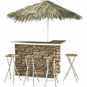 Rock Wall Deluxe Portable Bar- Thatched Umbrella And 4 Stools