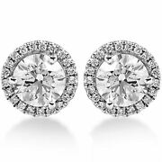1.65ct Real Diamond Halo Studs Round Earring14k White Gold For Black Friday Gift