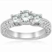2ct Real Diamond Vintage 3 Stone Antique Ring 14k White Gold For Christmas Gift