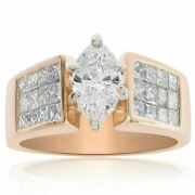 1ct Natural Diamond I-j Marques Cut Engagement Ring 14k Yellow Gold Si1