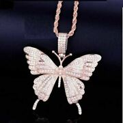 2.50ct Real Diamond Beautiful Butterfly Pendant 14k Rose Gold For Christmas Gift