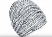 2.50ct Natural Diamond I-j Multi Row Wide Engagement Ring 14kt White Gold Si1
