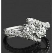 0.83ct Natural Diamond G-h Round Two Stone Engagement Ring 14k White Gold Si1