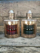 Nautical Light Brass Port And Starboard Lanterns Set Of 2 Ship Oil Lamps