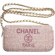 Deauville A81978 Chain Shoulder Bag Clutch Pink Gold Hardware New