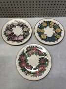 Lenox Sentiments Of Rose Collection Peace - Freedom - Love Set Of 3 Plates