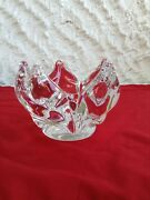 Kosta Boda Floriform Flame Crystal Bowl Signed By Goran Warff And Numbered
