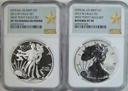 2013 W Proof / Reverse Proof American Silver Eagle West Point Set Ngc Pf70 Sp70