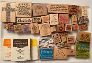 Rubber Stamp Lot About 8 Pounds Bird Stamp Sun Stamp Cross Stamp Watermelon