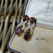 Sterling Silver Gold Over Stud Earrings, Red Garnet And Diamonds 925 Silver