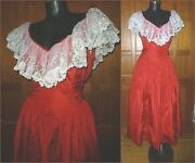 Vtg 80s Crisp Red Satin White Lace Ruffle Evening Wedding Prom Dress Gown Nuit