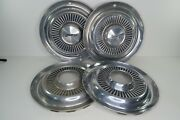 Set Of 4 Jeep Commando Jeepster 15 Stainless Hubcaps Front W/ Lockouts 1970s